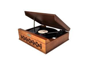 Pyle - Vintage Style Phonograph/Turntable With USB-To-PC Connection (Dark Maple)