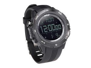 PyleSports - Digital Multifunction Active Sports Watch with Altimeter, Barometer, Chronograph, Compass, Count-Down Timer, Measuring & Weather Forecast Modes (Black)