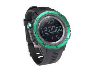 PyleSports - Digital Multifunction Active Sports Watch with Altimeter, Barometer, Chronograph, Compass, Count-Down Timer, Measuring & Weather Forecast Modes (Green)