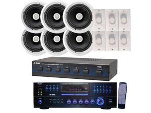 "Pyle - Pyle Complete Audio Package for Home/Office/Schools/Public --  1000W Receiver  Stereo Speaker Selector + (6x)  300W 8"" Two-Way In-Ceiling Speaker System + (6x)  Wall Mount Rotary"