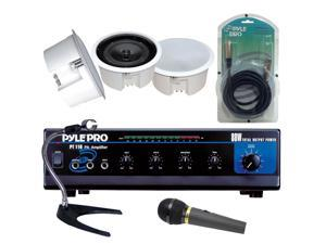 Pyle - 80 WATT PA Mono Amplifier + 5'' In Ceiling Flush Speaker System w/Rotary  Transformer +  Microphone + Desktop Microphone Stand + 15ft. Cable