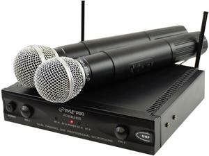 Wireless Dual Channel UHF Microphone System With 2 Microphones