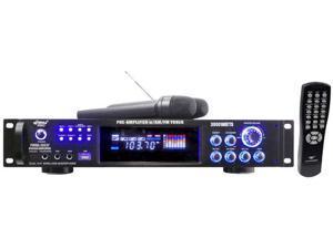 3000 Watts Hybrid Pre-Amplifier W/AM-FM Tuner/USB/Dual Wireless Mic