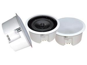 "PyleHome In-Wall / In-Ceiling 8"" Enclosed Speaker System, 70 Volt Transformer, Rotary Tap Select, Flush Mount, 300 Watt, Single Speaker (WHITE)"