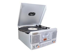 PyleHome - Retro Style Turntable With CD/Radio/USB/SD/MP3/WMA and Vinyl to MP3 Encoding (Silver)