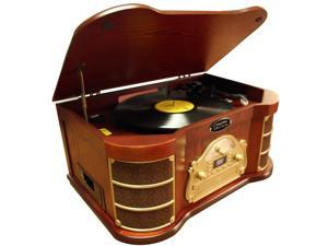 PyleHome - Classical Turntable with AM/FM Radio/ CD/ Cassette/ USB Recording & iPod  Player