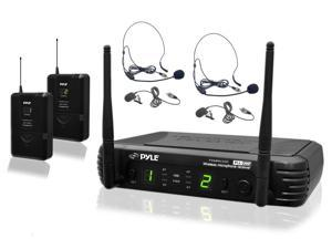 PylePro - Premier Series Professional UHF Microphone System with (2) Body-Pack Transmitters, (2) Headset & (2) Lavalier Microphones with Selectable Frequencies