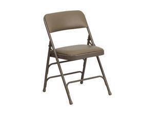 Flash Furniture HERCULES Series Curved Triple Braced & Quad Hinged Beige Vinyl Upholstered Metal Folding Chair [HA-MC309AV-BGE-GG]