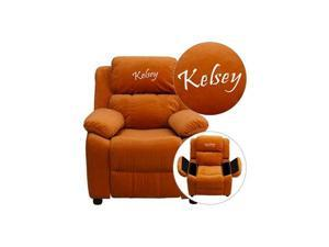 Personalized Deluxe Heavily Padded Orange Microfiber Kids Recliner with Storage Arms [BT-7985-KID-MIC-ORG-EMB-GG]