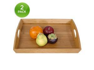 Natural Bamboo Serving Trays Set Of 2