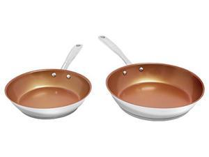 "NuWave 9"" & 10.5"" Ceramic Coated Stainless Steel Fry Pans"