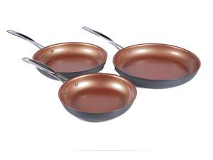 NuWave Durlon Cookware Hard Anodized Aluminum Fry Pans Set of 3