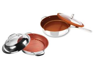 NuWave 11-Inch Stainless Steel Grill Pan with Lid PLUS Bonus Stainless Steel Everyday Pan