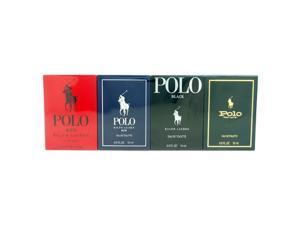 Polo Variety by Ralph Lauren for Men - 4 Pc Mini Gift Set 0.5oz Polo Red EDT Splash, 0.5oz Polo Blue EDT Splash, 0.5oz Polo Black EDT Splash, 0.5oz Polo EDT Splash