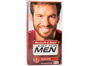 Brush-In Color Gel Mustache & Beard Medium Brown # M-35 by Just For Men for Men - 3 Pc Kit Gel