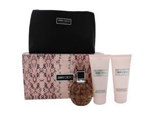 Jimmy Choo by Jimmy Choo for Women - 4 Pc Gift Set 3.3oz EDP Spray, 3.3oz Body Lotion, 3.3oz Shower Gel, Pouch