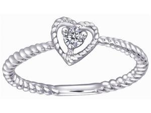 18K White Gold Diamond Heart Shaped Stackable Ring (0.07 cttw, G-H Color, VS2-SI1 Clarity)