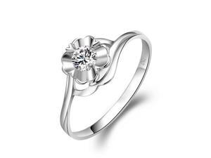 18K White Gold Flower Shaped Solitaire Diamond Engagement Ring / Wedding Ring (0.16 cttw, G-H Color, VS2-SI1 Clarity)
