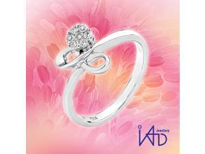 18K/750 White Gold Infinity Bow with Cluster Diamond Ring (0.12 cttw, G-H Color, VS2-SI1 Clarity)