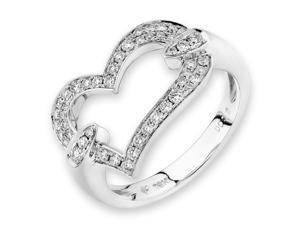 18K White Gold Heart Shape Diamond Ring (0.31ct,G-H Color,VS2-SI1 Clarity)