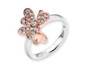 18K Rose & White Gold Heart Shape 4-Leaf Flower Diamond Ring (0.24ct,G-H Color,VS2-SI1 Clarity)