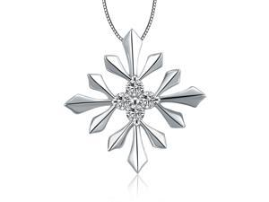 "18K White Gold Snowflake Diamonds Pendant W/925 Sterling Silver Chain 18"" (0.08 carats, G-H color, good SI1-2 Clarity)"