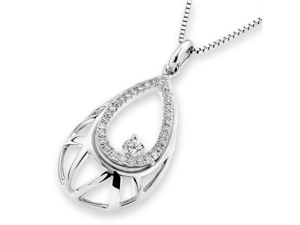 """18K White Gold Round Diamond Filligree Droplet Pendant W/925 Sterling Silver Chain 18"""" (0.24 cttw, G-H Color, VS2-SI1 Clarity)"""