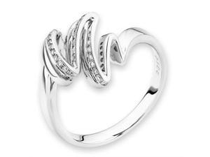 18K/750 White Gold Ribbon Diamond Ring (0.10cttw, G-H Color, VS2-SI1 Clarity, Ring Size US 6.5)