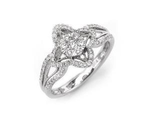 18K/750 White Gold Round Diamond Engagement Ring US 6.5 (0.46cttw, G-H Color, VS2-SI1 Clarity)