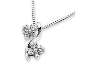 "18K White Gold Double Dancing Butterfly Diamond Accent Pendant W/925 Sterling Silver Chain 18"" (0.18cttw, G-H Color, VS2-SI1 Clarity)"