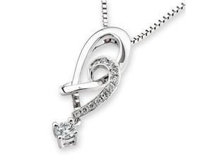"18K White Gold Heart Shape With Dangling Diamond Pendant W/925 Sterling Silver Chain 18"" (0.15cttw, G-H Color, VS2-SI1 Clarity)"