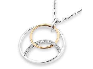 """18K Rose Gold And White Gold Polished Finished 3 Circles Diamond Accentt Pendant w/925 Sterling Silver Chain 18"""" (0.08 cttw, G-H Color, VS2-SI1 Clarity)"""