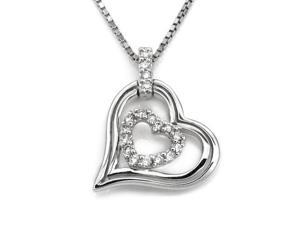 """18K White Gold Hollow Double Heart Diamond Accent Pendant W/925 Sterling Silver Chain 18"""" (0.15 carats, G-H color, SI1-2 Clarity)"""