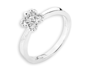 18K White Gold Star Prong Set Diamond Promise Ring (0.08ct,G-H Color,VS2-SI1 Clarity)