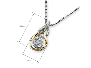 """18K Rose White Gold Double Droplet Illusion Setting Diamond Pendant W/925 Sterling Silver Chain 16"""" (0.18cttw, G-H color, good SI1-SI2 Clarity)"""