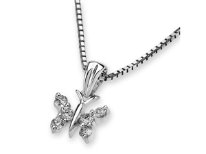 18K White Gold Butterfly Diamond Pendant W/Silver Chain (0.15ct,G-H Color,VS2-SI1 Clarity)