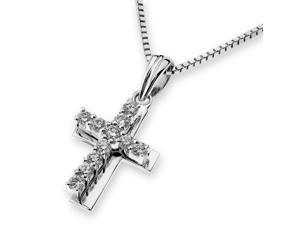 18K White Gold Double Cross Diamond Pendant With 925 Sterling Silver Chain (0.18 cttw, G-H Color, VS2-SI1 Clarity)