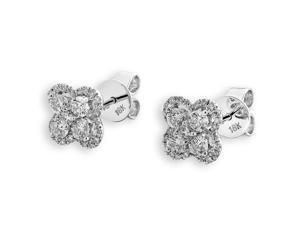 18K White Gold Clover Flower Diamond Stud Earrings (0.70 cttw, G-H Color, VS2-SI1 Clarity)
