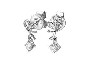 18K White Gold Heart Shape with Solitaire Diamond Dangling Earrings (0.17 cttw, G-H Color, VS2-SI1 Clarity)