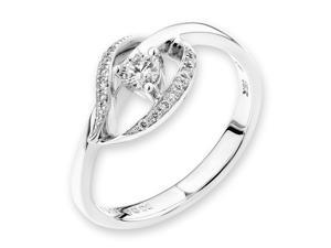 18K/750 White Gold Leaf Shape Solitaire Diamond Ring (0.18 cttw, G-H Color, VS2-SI1 Clarity)