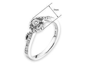 18K/750 White Gold Twisted Solitaire Diamond Ring (0.18 cttw, G-H Color, VS2-SI1 Clarity)