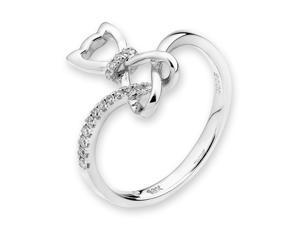 18K/750 White Gold Cutie Cat Diamond Ring (0.08 cttw, G-H Color, VS2-SI1 Clarity)