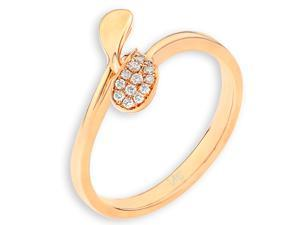 18K/750 Rose Gold Twisted Leaf Diamond Ring (0.05 cttw, G-H Color, VS2-SI1 Clarity)