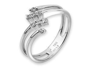 18K/750 White Gold Falling Star Diamond Ring (0.10 cttw, G-H Color, VS2-SI1 Clarity)