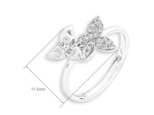 18K/750 White Gold Butterfly in Flower Garden Diamond Ring (0.15 cttw, G-H Color, VS2-SI1 Clarity)