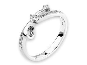18K/750 White Gold Falling Star Diamond Ring (0.22 cttw, G-H Color, VS2-SI1 Clarity)