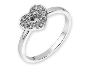 18K/750 White Gold Heart Shape Pave Setting Diamond Ring (0.11 cttw, G-H Color, VS2-SI1 Clarity)