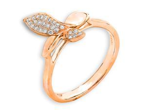 18K/750 Rose Gold Ribbon Shape Butterfly Diamond Ring (0.12 cttw, G-H Color, VS2-SI1 Clarity)