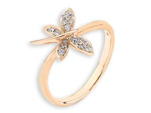 18K/750 Rose Gold Dragon fly Diamond Ring (0.10 cttw, G-H Color, VS2-SI1 Clarity)