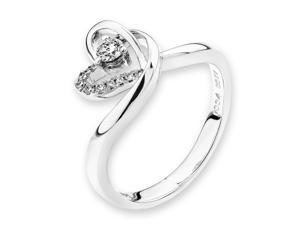 18K/750 White Gold Double Heart Shape Solitaire Diamond Ring (0.13 cttw, G-H Color, VS2-SI1 Clarity)
